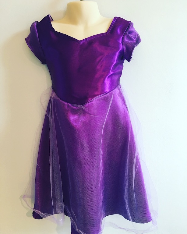 The finished dress - simplicity 1074 in dark purple satin with tulle overlay