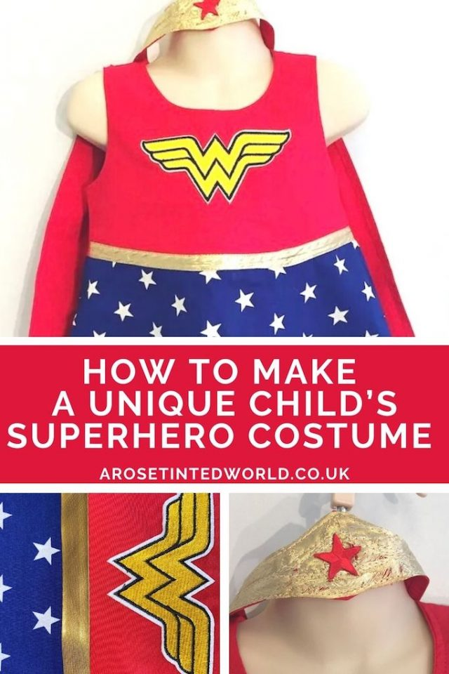 Making A Girl's Superhero Dress. Does your child refuse to get dressed up in dressing up outfits and flouncy princess dresses? My little girl did not want to wear shop bought costumes, so I customised an everyday dress into the perfect alternative complete with cape and headband. Great sewing idea to sew a unique party dressing up costume for a child. See how I made a Wonder Woman dress for my daughter, and how it can be adjusted to make other outfits too!