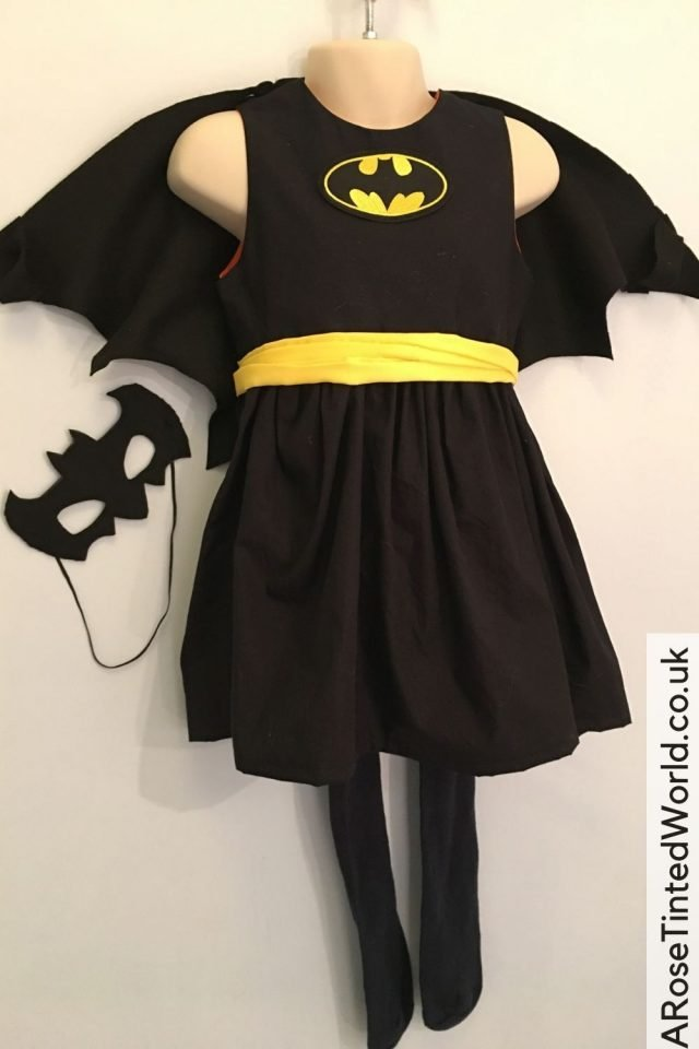 Batgirl Outfit -Making A Girl's Superhero Dress. Does your child refuse to get dressed up in dressing up outfits and flouncy princess dresses? My little girl did not want to wear shop bought costumes, so I customised an everyday dress into the perfect alternative complete with cape and headband. Great sewing idea to sew a unique party dressing up costume for a child. See how I made a Wonder Woman dress for my daughter, and how it can be adjusted to make other outfits too!
