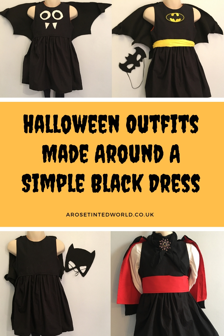Halloween Outfits Made Around A simple Black Dress - Be more sustainable with your Halloween costume by basing your costume idea around a dress that can be reused. No more Halloween outfits that only get worn once! Here are some easy last minute outfit ideas for children dressing up that use a black dress as their base #halloweencostumes #halloweenoutfits #halloweenpartyideas #halloweencostumesforkids #halloweendiy #halloweencrafts #halloweencostumeideas #halloweenwitch #dressingup #dressupideas