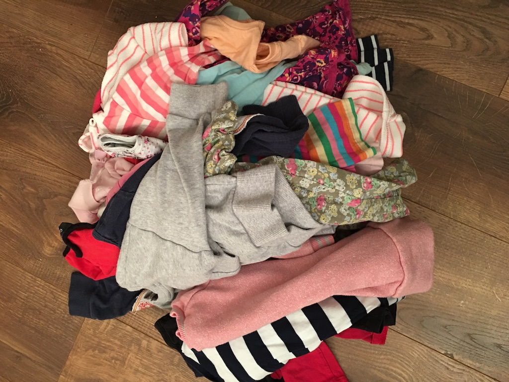 making a rag rug - jersey clothes pile