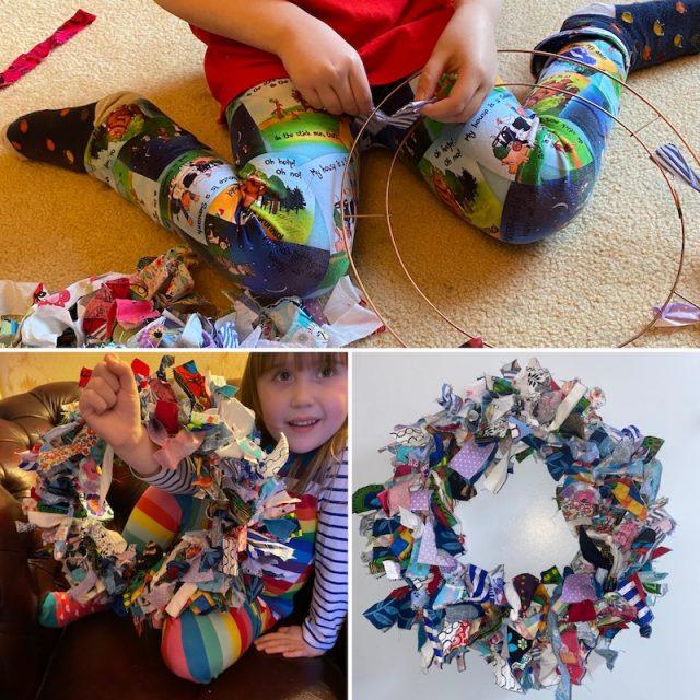 Rag wreath made by Elizabeth