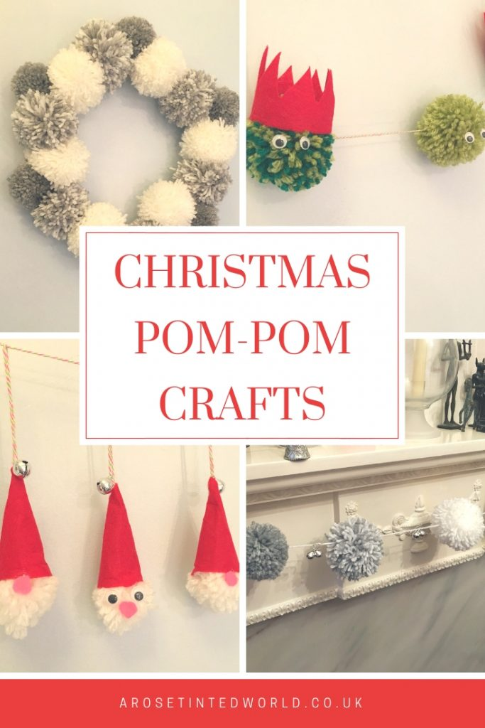 Christmas Pom-Pom Crafts - make these pretty and simple Christmas decorations - easy Xmas decor - perfect for children to make. Make your own simple yet effective decorations using yarn or wool. Pompom wreath, garland and cute pom pom characters. #pompomcrafts #pompomwreath #pompom #pompommaker #christmasdecor #christmasdecorations #christmascrafts #christmasdiy #christmas #pompomgarland #garland
