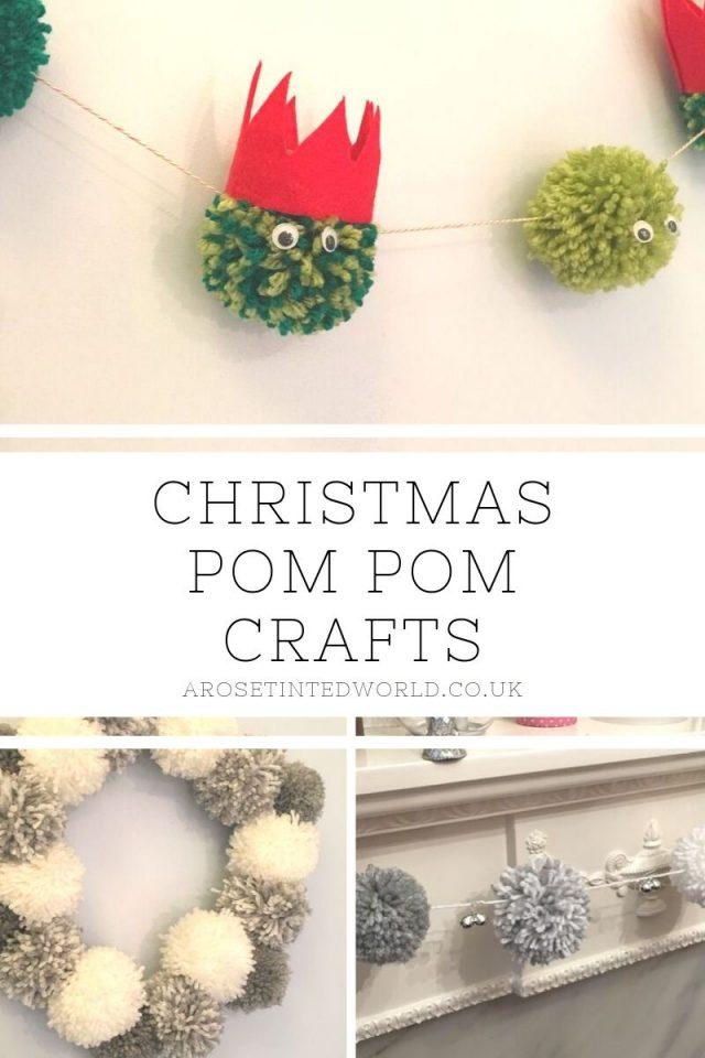 Christmas Pom-Pom Crafts - make these pretty and simple Christmas decorations #pompomcrafts #pompomwreath #pompom #pompommaker #christmasdecor #christmasdecorations #christmascrafts #christmasdiy #christmas #pompomgarland #garland