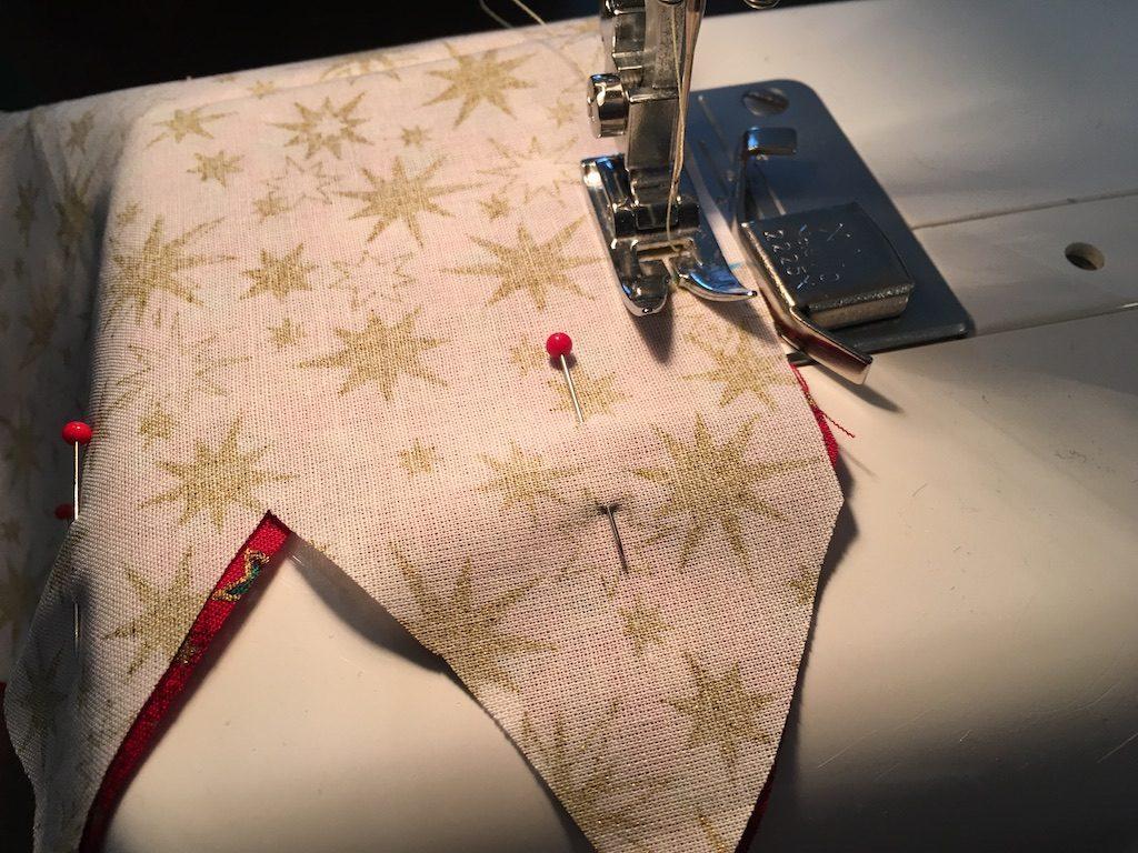 Padded Fabric Christmas Trees - pinned