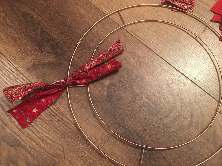 Festive Rag Wreath - starting to make