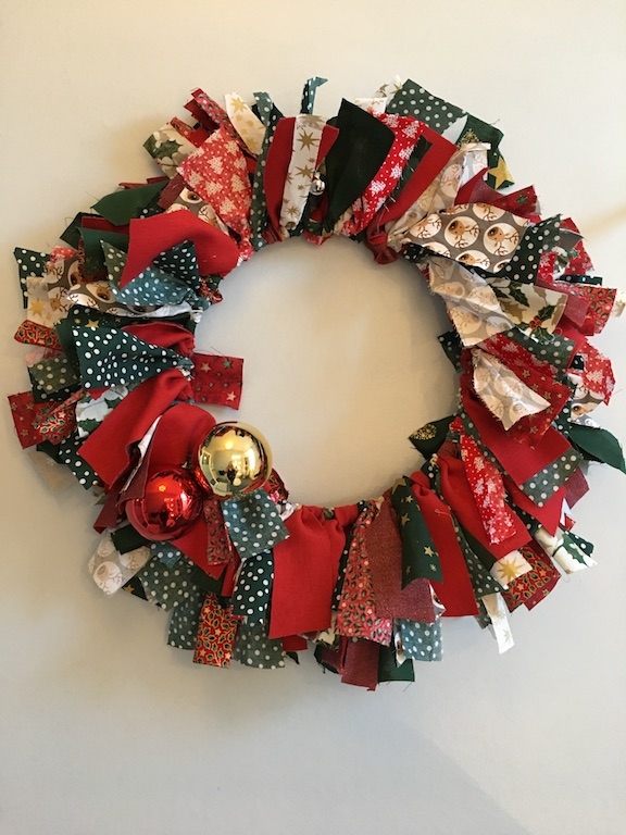 Festive Rag Wreath - finished