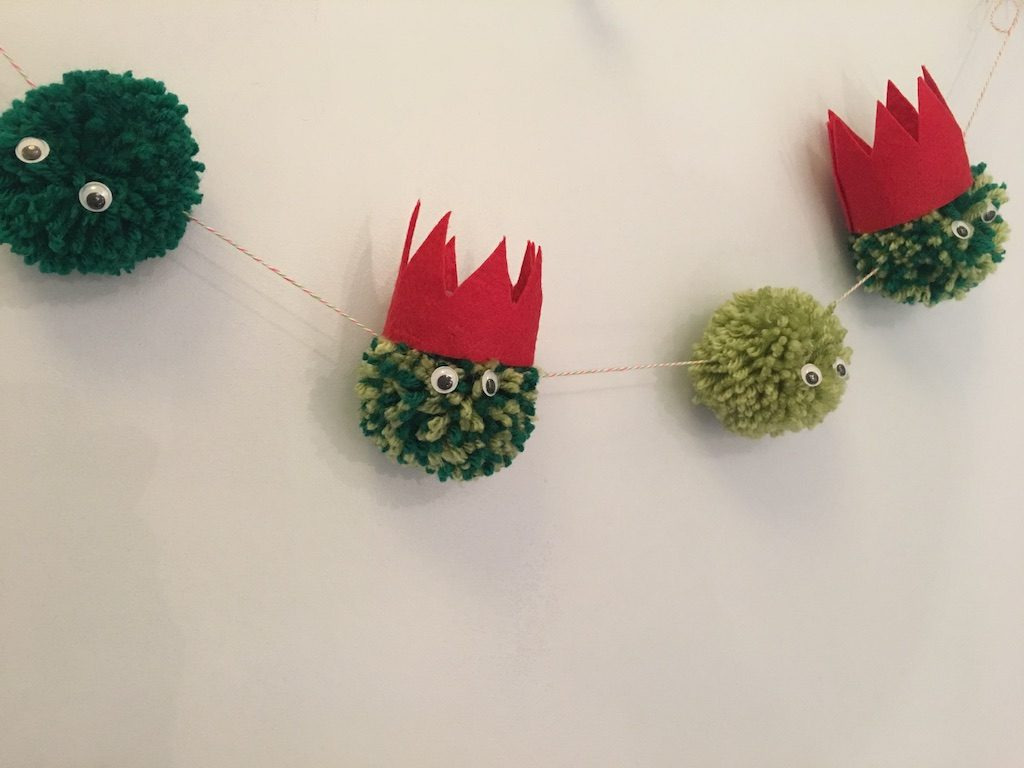 Christmas Pom-Pom crafts - finished brussel sprout garland