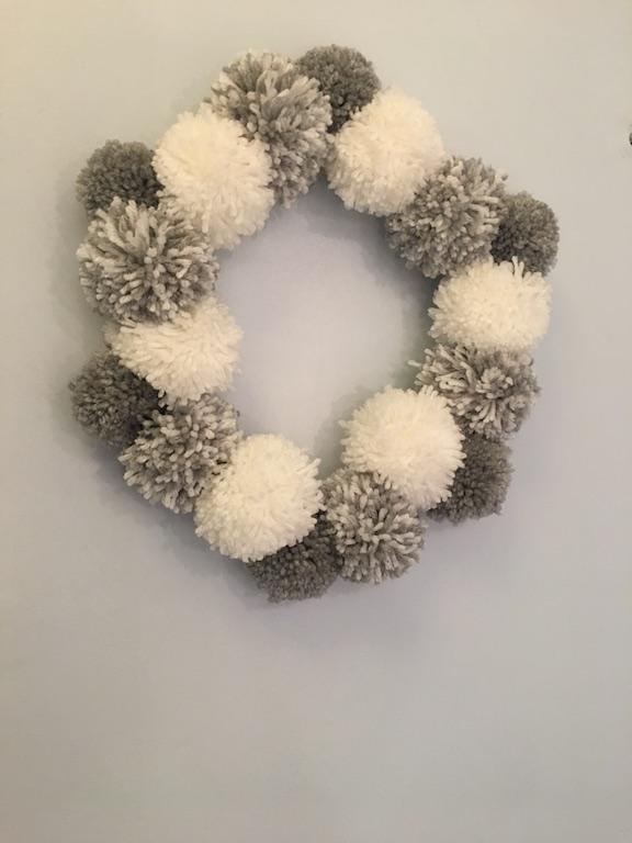 Christmas Pom-pom Crafts - the finished wreath