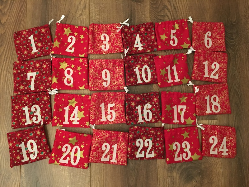 Advent Calendar Treat Bags - set of bags finished