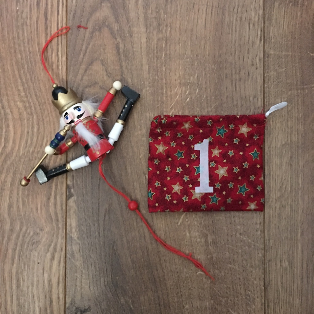 1st December - advent bag - jumping nutcracker