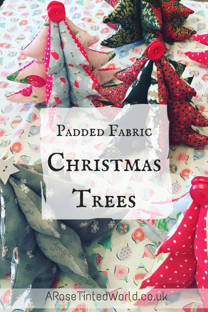 Padded Fabric Christmas Trees - follow my easy sewing tutorial and make these brilliant Xmas decorations. They are a great idea for a table centrepiece, handmade festive gift or decor - make a tree to match your holiday trimmings. Free template and full simple picture tutorial #sewing #easysewingproject #christmassewing #christmascrafts #christmasdecorations #christmasdecor #christmasdiy #sewingforchristmas #christmassewingprojects #sewingtutorials #sewingprojects #sewingcrafts #christmastrees