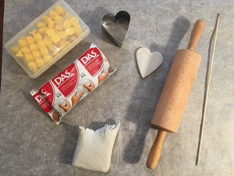 Things needed for air-drying clay christmas decorations