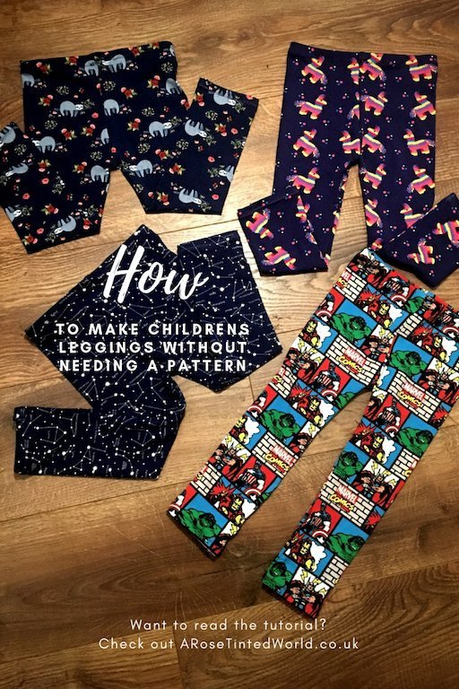 How To Make Childrens' Leggings Without Needing A Pattern - here is a great way of making a new pair of leggings for your child by using an existing pair as your template. No sewing pattern needed, this tutorial shows you how you can make this too! #childrensclothes #childrensleggings #sewingprojects #sewingtutorials #sewing #sewingtips #leggingsforchildren #makeyourown #patternmaking #dressmaking #childrensdressmaking #beginnerssewingprojects