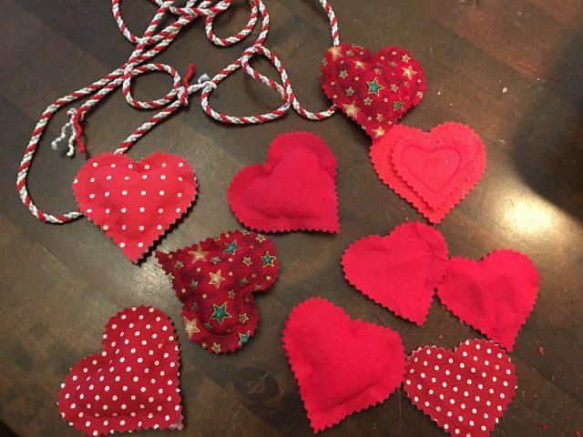 Padded Heart Valentine Garland - hearts made