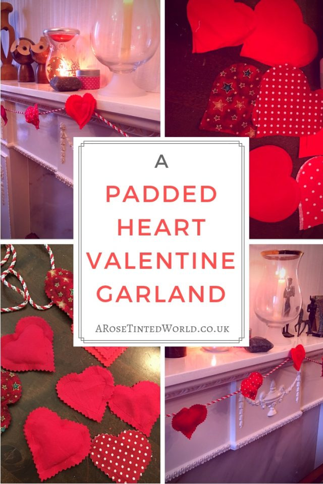 Padded Heart Valentine Garland - this pretty decor perfect for Valentine's day is really easy to make from fabric scraps. Find out in this tutorial how to make one for yourself. Spending Valentine's Day at home this year? This pretty decor can be made quickly and cheaply with things you already have. Suitable for hand or machine sewing. Perfect mantle decor. Decorate your house with love. Valentines day crafts. Heart art. Easy crafts for valentines.