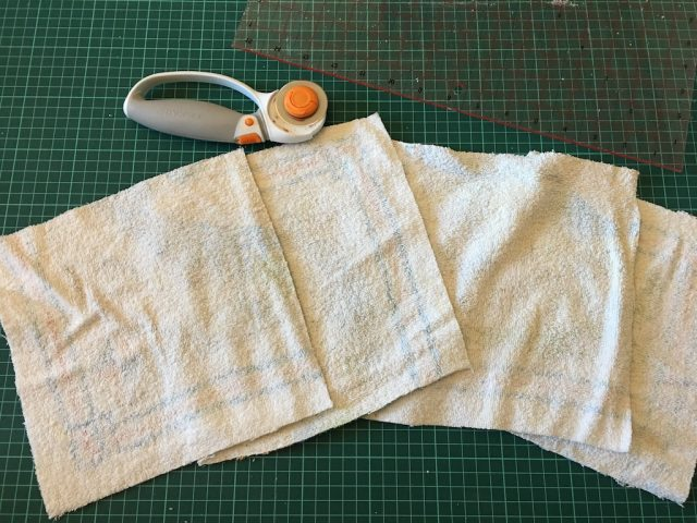 reusable kitchen roll - cutting old towel