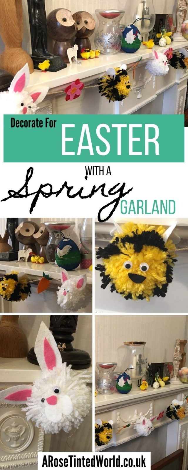 Make A Pom Pom Spring Garland - this wool and felt Easter decoration is a great DIY craft to do with the children. How to make Bee and Bunny Rabbit pompoms. #eastercrafts #easterdecor #springcrafts #springdecor #easterdecorations #easterdiy #springcraftsforkids #pompomcrafts #pompomgarland