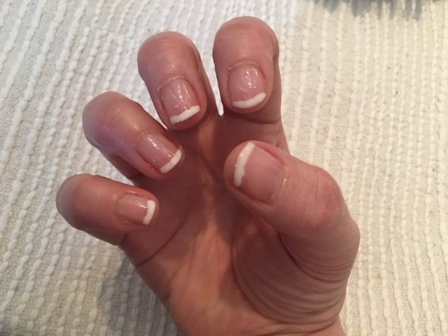Doing My Own Shellac Manicure - finished hand