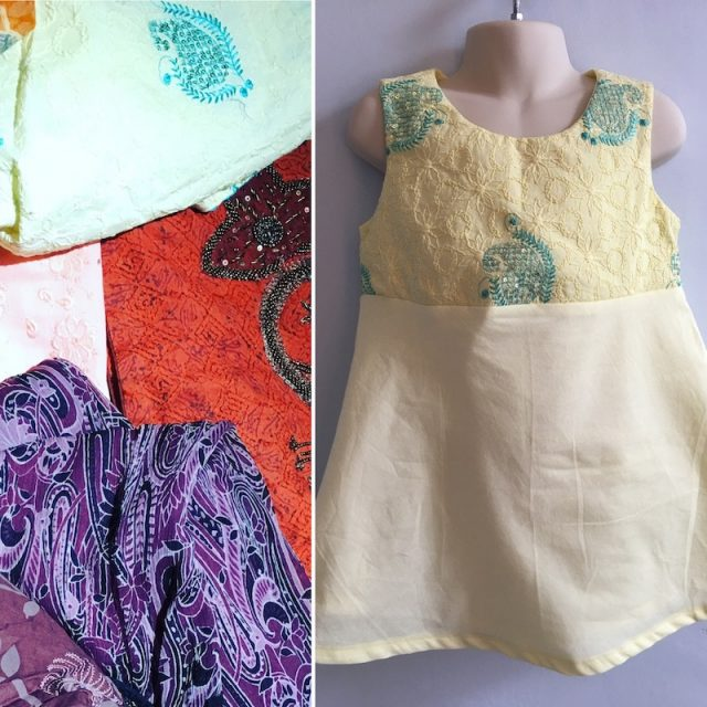 Little girl dress from old clothes