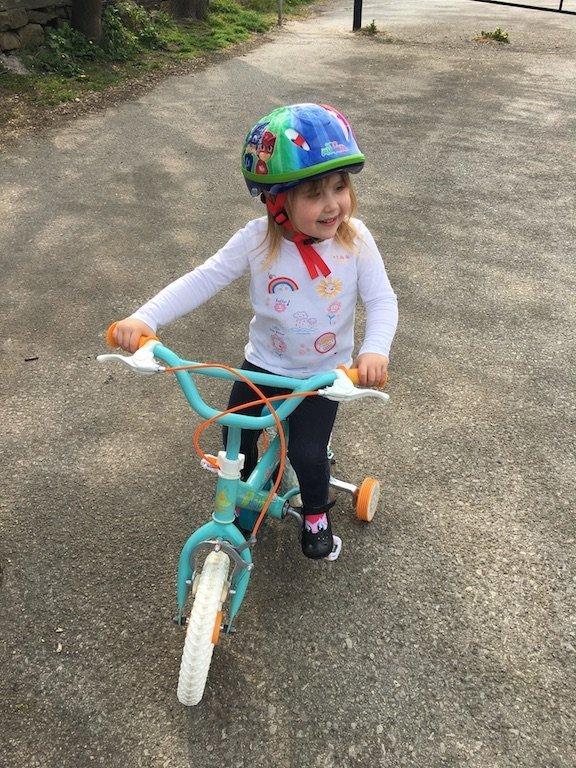 E on her New Bike