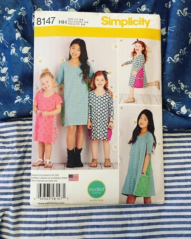 The pattern package for the Simplicity 8147 - along with my choices of fabric