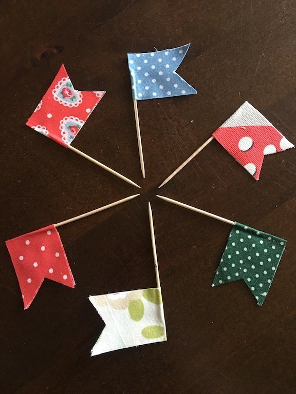 Sandwich picks or sandcastle flags made from fabric scraps - zero waste