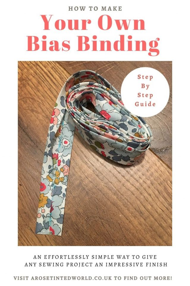 How To Make Your Own Continuous Bias Binding Tape - It is nice to finish your sewing projects off with a neat and pretty bias. Here is how to create your own. Pictorial tutorial. Sewing hints tips tricks and hacks. Bias tape making tutorial. #biasbinding #biastape #bias #sewingtutorial #howtomake #howtosew #makeyourown #makebiastape