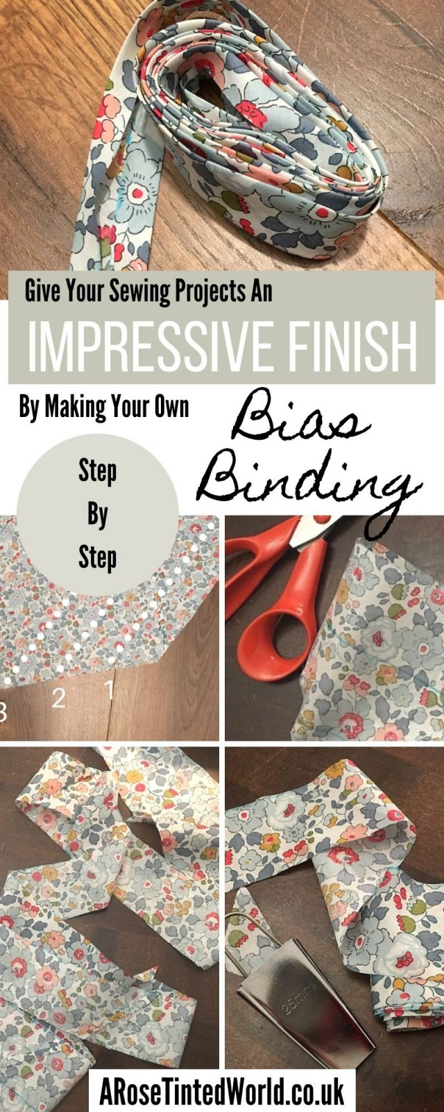 How To Make Your Own Continuous Bias Binding - It is nice to finish your sewing projects off with a neat and pretty bias. Here is how to make your own. Pictorial tutorial. Sewing hints tips tricks and hacks. Bias tape making tutorial. #biasbinding #biastape #bias #sewingtutorial #howtomake #howtosew #makeyourown #makebiastape