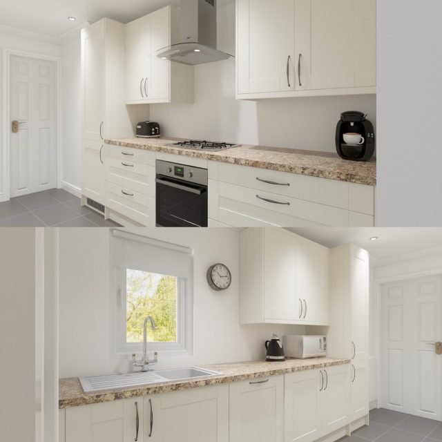 Our virtual kitchen plan, which turned out to look very much like the real thing!