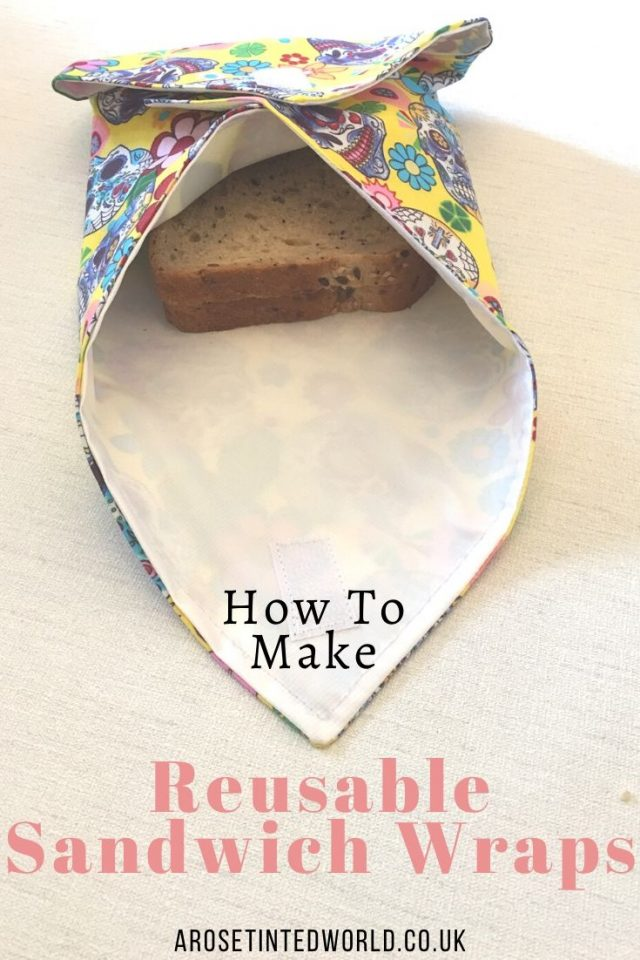 How to Make your own reusable sandwich wraps - an alternative to plastic ziplock bags for packed lunches. A zero waste kitchen swap.. #DIY #tutorial with pictures. Pictorial guide to making these #sustainable #kitchenswaps. #Environmentallyfriendly #sandwichbags #zerowaste #zerowasteliving #zerowastelifestyle #sandwichwraps #sustainableliving