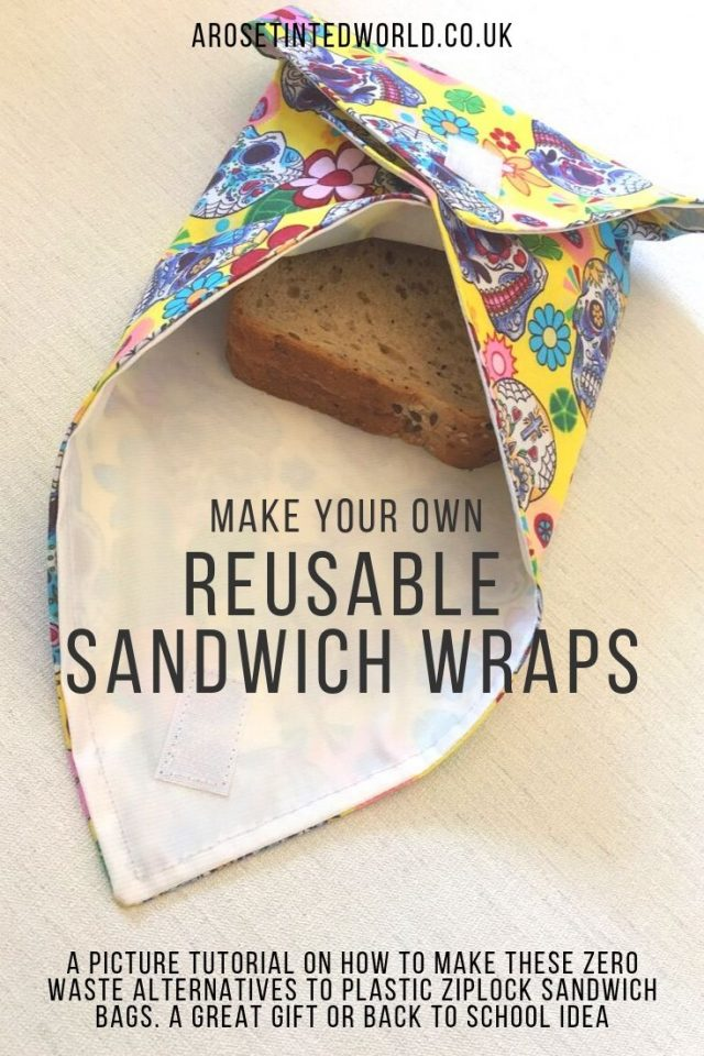 How to Make your own reusable sandwich wraps - a sustainable and environmentally friendly alternative to plastic ziplock sandwiches bags for packed lunches. A zero waste kitchen swap.. Easy DIY tutorial with pictures. Pictorial guide to making these. Beginners sewing project perfect for novice sewists. Zero waste lifestyle idea for sustainability in living.