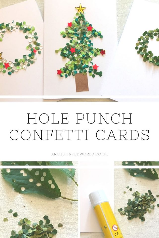 Hole Punch Confetti Cards - an easy card making craft suitable for small children. Use leaves to make confetti dots for a zero waste sustainable way to make these gorgeous stand out cards, for Christmas, birthdays or other occasions. #cardmaking #cardcraft #cardmakingideas #cardmakingtutorials #christmascards #birthdaycards #cardideas