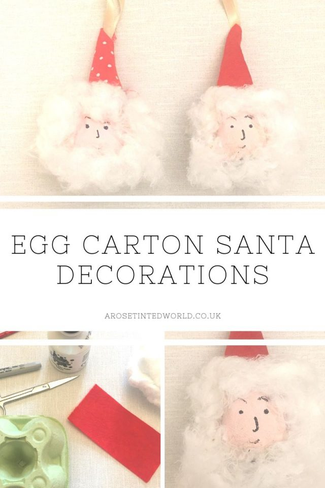 These Egg Carton Santa decorations are made using egg boxes paint that other household items. And easy craft for even small children, this is a great way to reuse, recycle and upcycle in order to have a more zero waste festive season . Holiday ideas on reducing waste and reduce plastic pollution this Xmas. Simple egg carton crafts for kids. Father Christmas crafts. Perfect DIY gift for grandparents. Christmas decoration idea, for decor in the holidays.