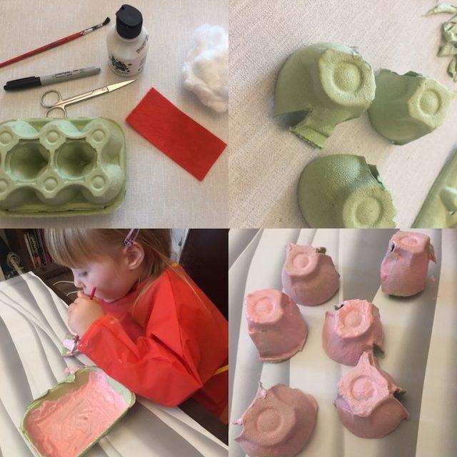 Making Santa Egg Box Decorations 2
