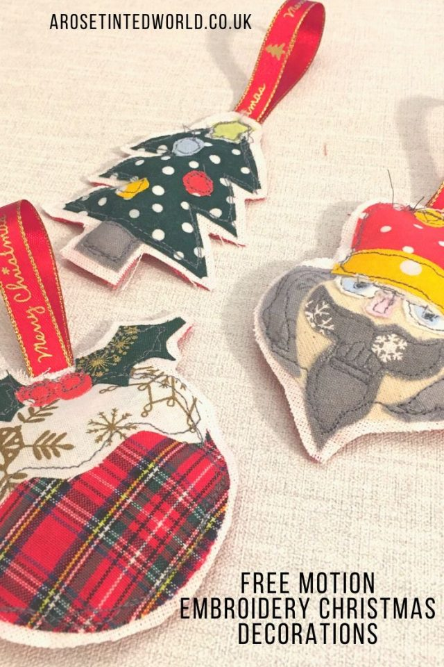Free Motion Embroidery Christmas Decorations - these pretty tree bauble ornaments for the tree at Xmas are made from small scraps of fabric. This tutorial with free templates shows you how to make them. Great gift. Holiday Idea. #christmas #christmascrafts #christmasdecoration #christmasdiy #christmasdecor #christmastreedecoration #christmastreeornament #christmascraft #christmasbauble #treebauble #freemotionembroidery #freemotionstitching #diychristmas #xmasdiy #fabricscraps