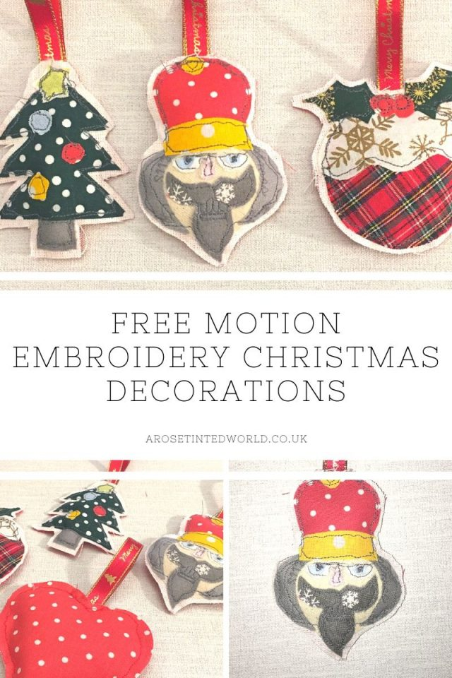 Free Motion Embroidery Christmas Decorations - these pretty tree bauble ornaments for the tree at Xmas are made from small scraps of fabric. This tutorial with free templates shows you how to make them. Great gift. Holiday Idea. DIY Christmas decoration crafts. Use fremotion stitching with fabric scraps on your sewing machine to make this funky christmas decor. Free template for each design.