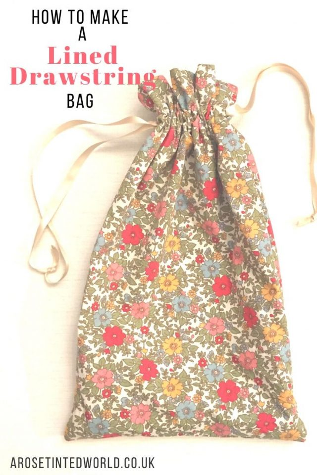 How To Make A Lined Drawstring Bag - here are two methods of making a fabric gift or present bag. Useful for zero waste birthday and Christmas gifts but also for making school shoe bags, laundry bags etc. #bagmaking #giftbag #giftwrapping #giftwrappingideas #sustainablewrapping #sustainableliving #wrapped #wrapping #christmasgift #sewingtutorial #sewingprojects #sewinggifts