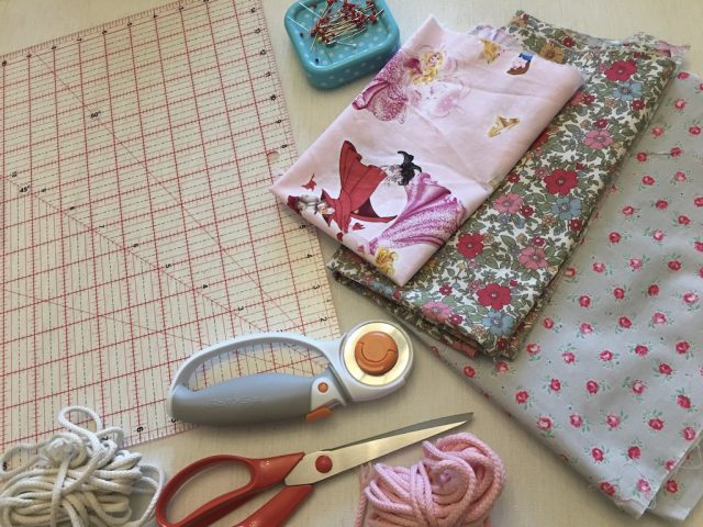Items that you will need to make a lined drawstring bag