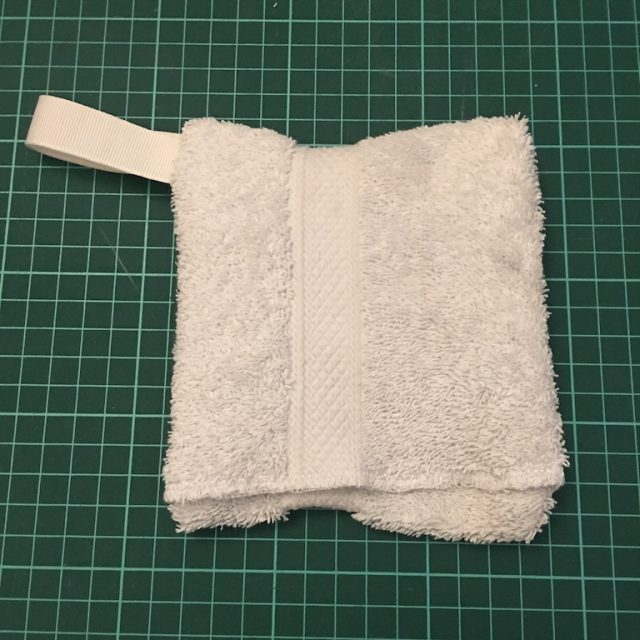 Finished up cycled wash cloth soap holder