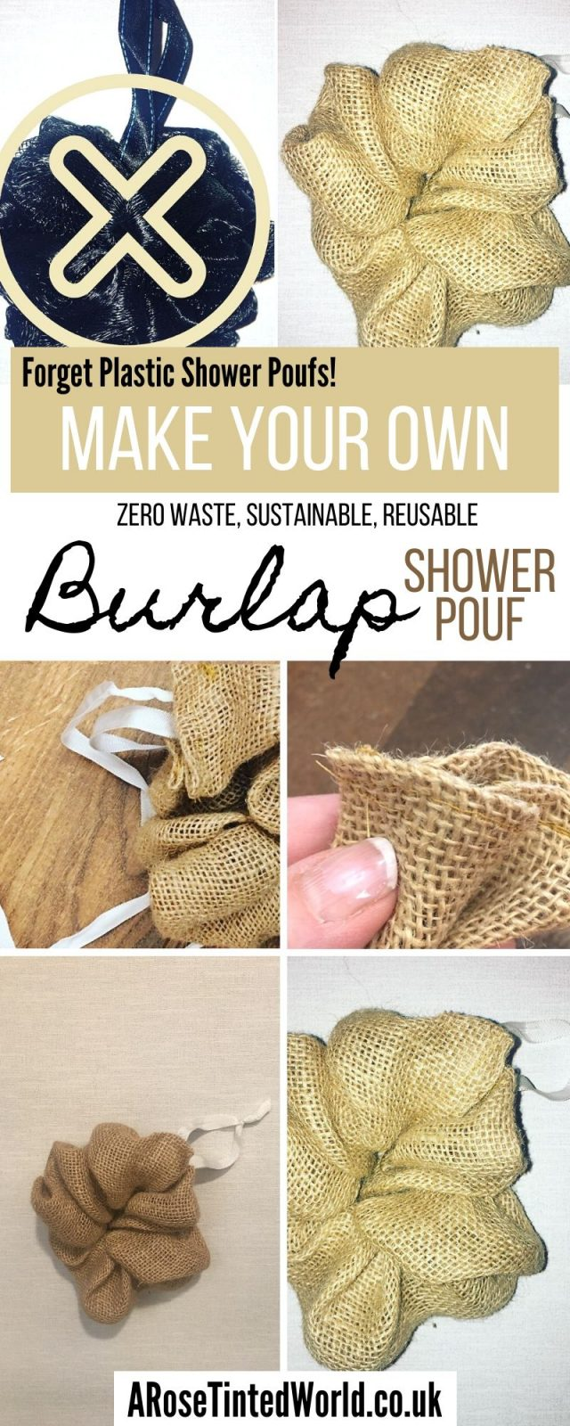 Zero Waste Hessian Shower Pouf - Forget plastic bacteria breeding bath scrub sponges & puffs, here is a version that is up cycled, sustainable , can be laundered with your wash & can be composted at the end of its use. A full pictorial tutorial on how To Make Shower Unsponges - Make your own scrubbers. A great zero waste bathroom swap. Upcycle old coffee sacks to make these . DIY guide . Environmentally friendly #showerpouf #showerpuff #unsponges #bathroomswaps #upcycling #sustainable #zerowaste #environmentallyfriendly #bathunsponges #diyunsponge