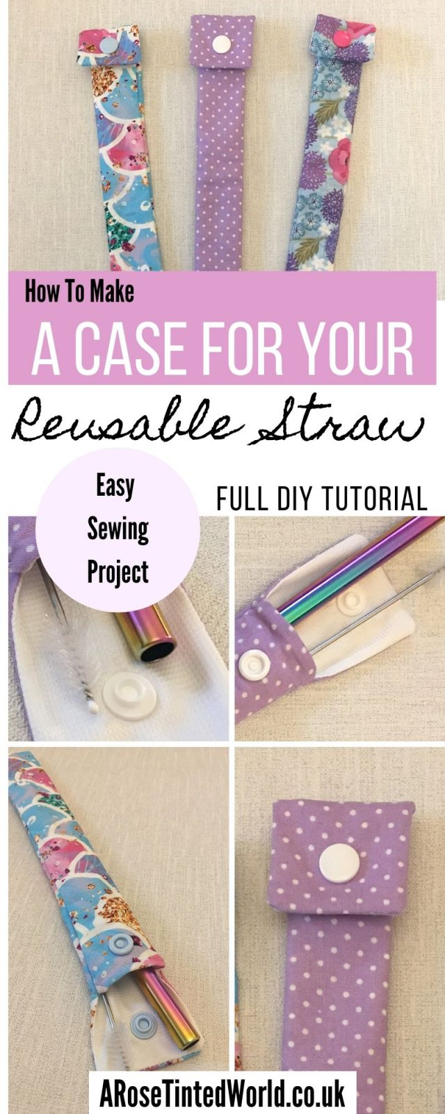 How To Make A Reusable Straw Case - DIY sewing tutorial. Sew your own holder for bamboo, stainless steel, & reusable straws. Live a more sustainable or zero waste lifestyle by using reusable straws when out and about. Stop using plastic straws. Easy sewing project suitable for beginner or novice sewers. Full guide given. Doubles as a toothbrush pouch! - full pictorial tutorial - great gift or to sell