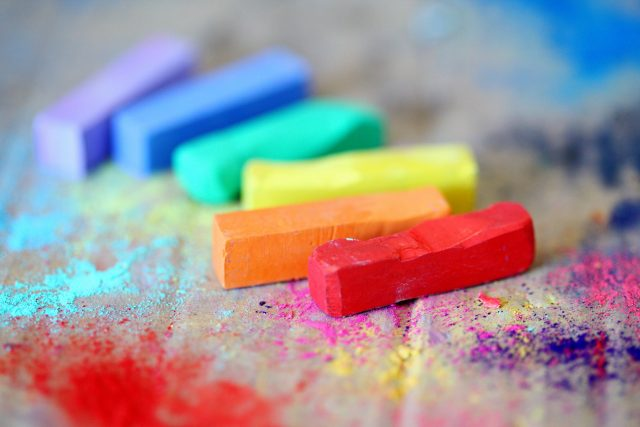 Pexels photo of rainbow chalks - 5 things to DIY