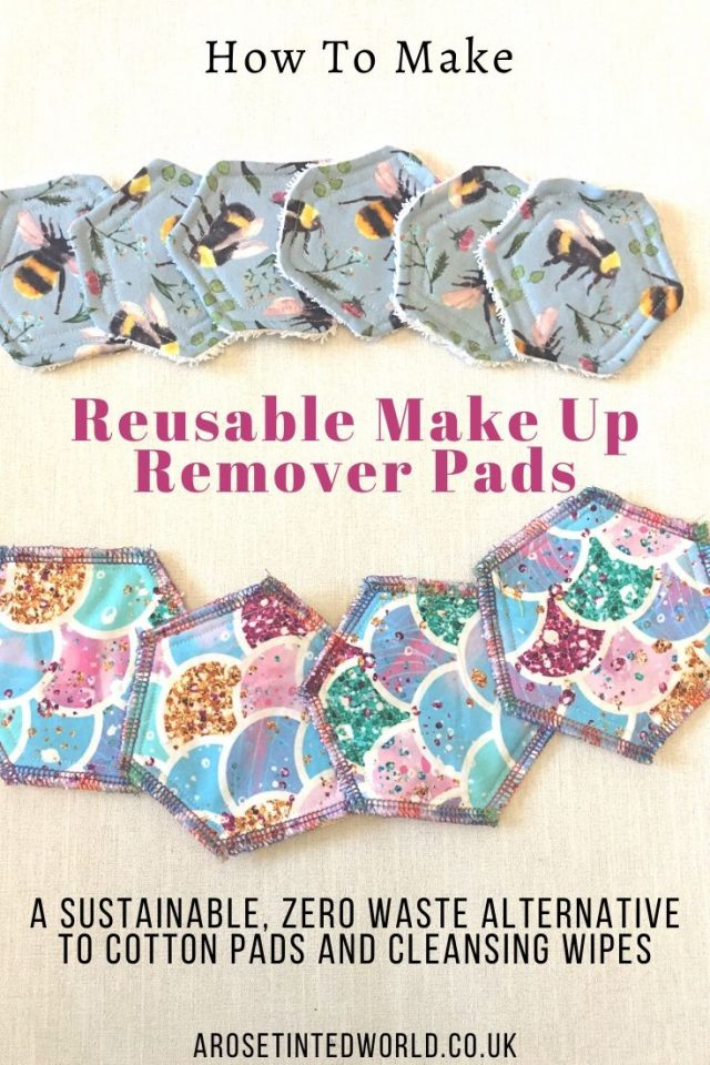How To Make Reusable Make Up Remover Pads - these are a great zero waste, sustainable alternative to cotton pads & wipes. Full step by step very easy beginner sewing tutorial. Sew from new or upcycle  reuse and recycle old towels and fabric scraps. Free template included. DIY craft idea and a great item to make and sell at craft fairs or on Etsy. Perfect handmade gift, Christmas, Birthday or Mother's Day present.