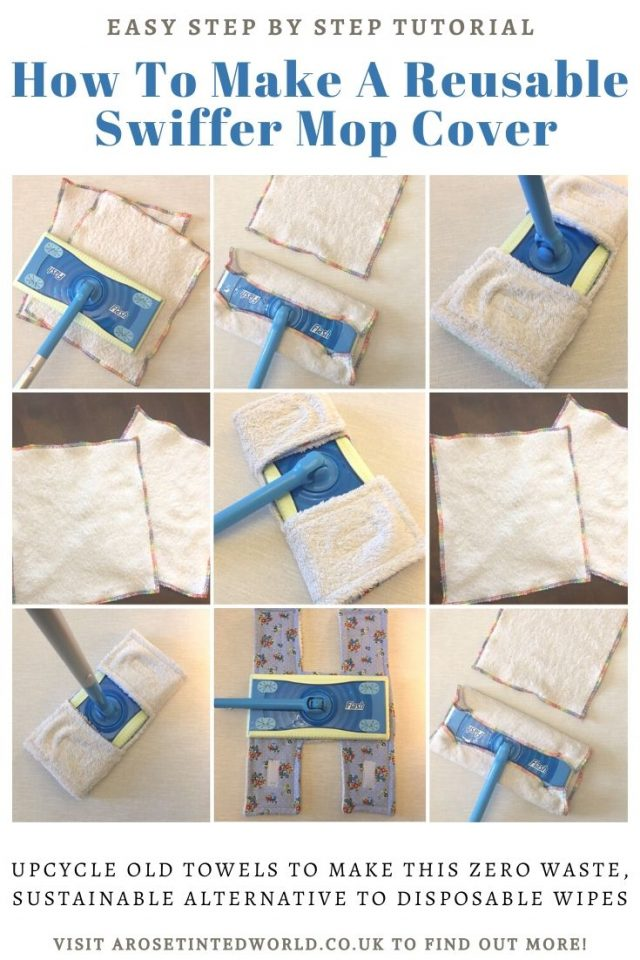 How To Make A Reusable Swiffer Mop Cover - here is a DIY sewing tutorial for a zero waste, upcycled, sustainable mop pad for a flash speed mop or swiffer mop. Up cycle old towel and cotton clothing with this step by step DIY sewing tutorial. #sewing #upcycling #upcycled #zerowaste #sewingtutorial #zerowastesewing #upcycletowels #upcycledtowel #swiffer