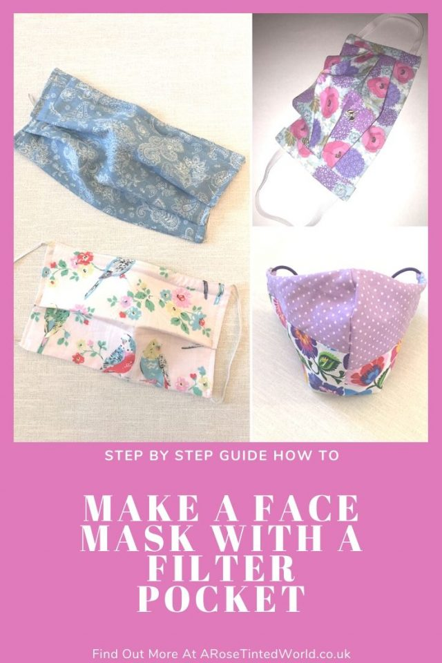 How To Sew A Face Mask (With A Filter Pocket) & wire nose fitting - these cloth face coverings shield your nose & mouth. Adult and child sizes. Full DIY step by step sewing tutorial how to make them. Free sewing DIY pattern #sewing #easysewingprojects #facemasks #clothmasks #facemaskpattern #facemaskdiy #clothmask #clothfacemask #sewingtutorial #easysewingproject