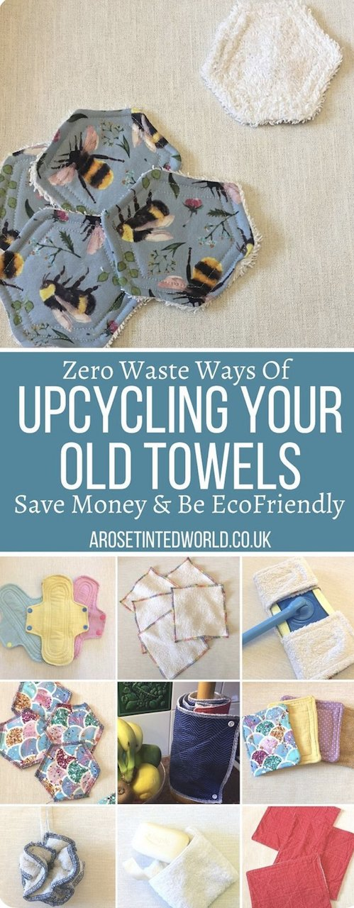 Ways To Upcycle Old Towels -looking for zero waste, sustainable ideas of how to reuse your old towel? Find here some great ways of recycling this versatile fabric and making some brilliantly useful items. Uses for old towels, recycled towelling from the bathroom or kitchen.