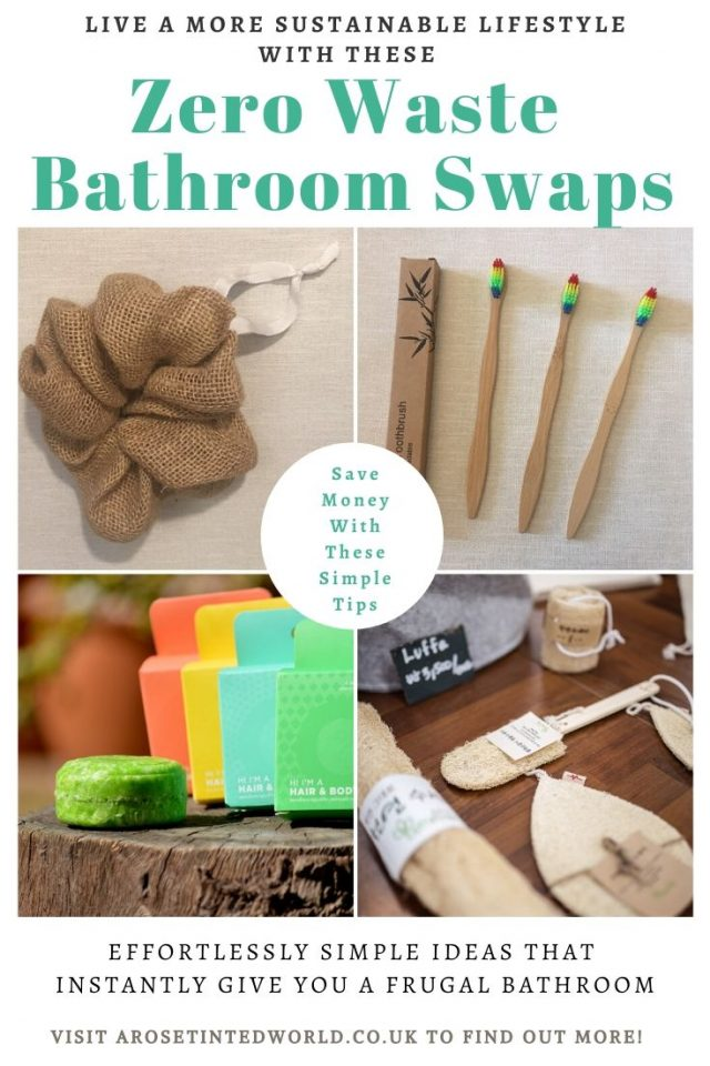 Zero Waste Bathroom Swaps - here are some great ideas for some easy bathroom swaps that you can make on your journey to a more sustainable and ecofriendly lifestyle. Be frugal, save money and be eco friendly. Perfect for Plastic Free July. Plastic free period tips. #zerowaste #bathroomswaps #zerowasteliving #zerowastelifestyle #zerowastebathroom #ecofriendlybathroom #sustainableliving #sustainability #plasticfree #environmentallyfriendly