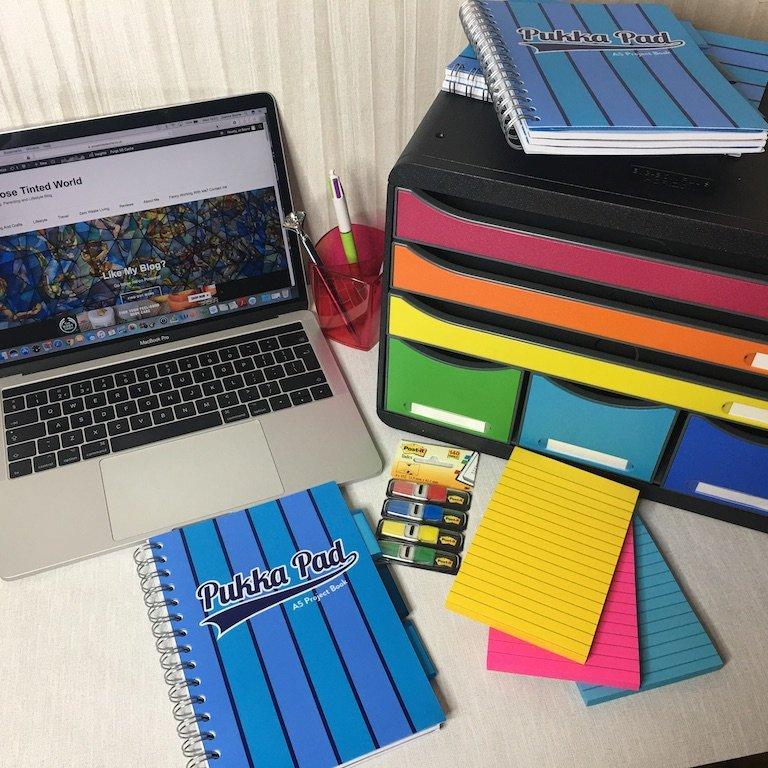 My organised blogger desk