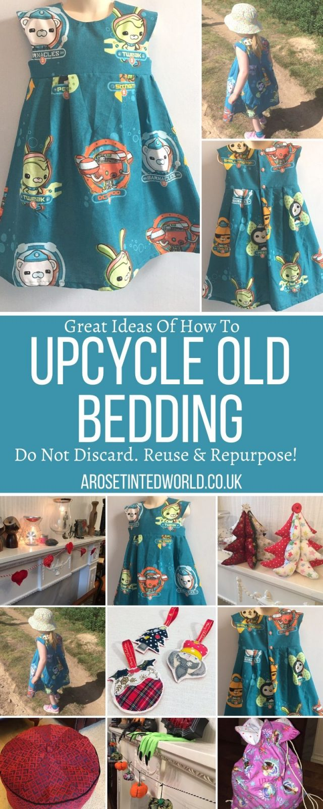Upcycling Old Bedding - some great ideas & ways to recycle, repurpose or reuse old bed clothes, sheets & duvet covers. Be sustainable & make something new!